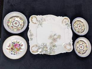 Antique Ceramic Serving Tray And Saucers