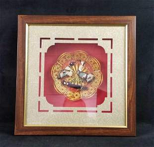 Cloisonne Filigree Red Crowned Cranes Gold Plate