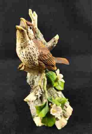 Vintage Andrea By Sadek Wood Thrush Bird Figurine