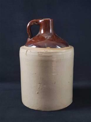 Vintage Stoneware Whiskey Jug With Cork