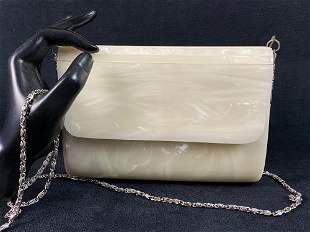 Vintage STEPHANIE White Pearlescent Lucite Clutch Purse