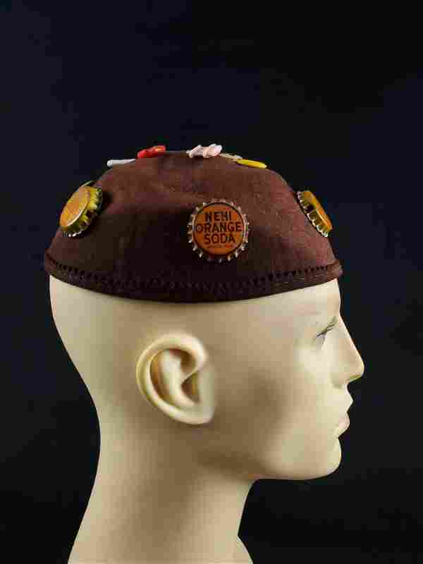 WWII Wool Cap with Bottle Caps and Pins