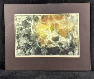 """Signed A.P. Abstract Print by Ruth Rodman """"Moonscape I"""""""