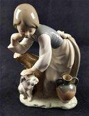 Retired Porcelain Lladro Caress and Rest Girl Dog