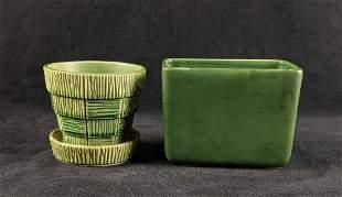 Green Ceramic Planters Rectangular and Circular