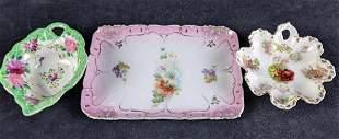 Vintage Decorative Floral Bowls and Tray Porcelain