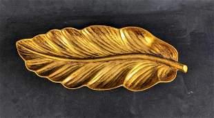 Golden Leaf Decoration, Golden Brown Leaf Dish Large
