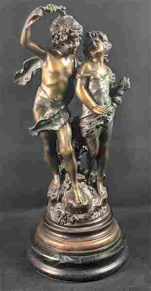 Young Lovers By Auguste Moreau Bronze Sculpture X9