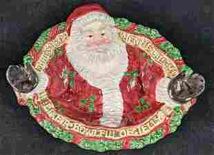 Fitz & Floyd Christmas Ceramic Santa Serving Bowl