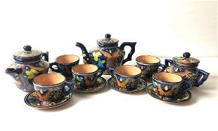 Vintage Hand Painted Terracotta Hearth Wear 15 Pc Tea