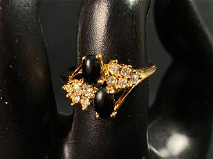 Vintage Electroplate CZ & Black Gemstone Cocktail Ring