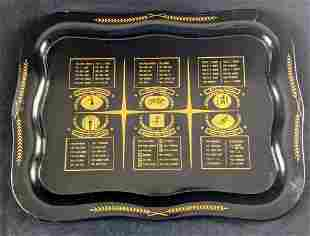 Large Vintage Black And Gold Sports Champs Serving Tray