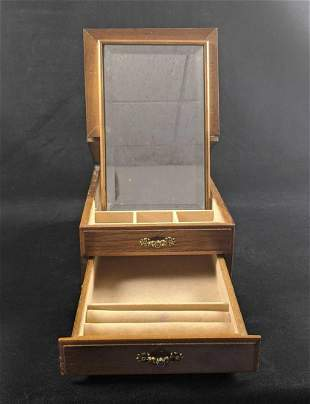 Wood Jewerly Box With Pull Out Mirror Two Shelves