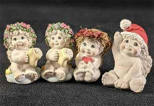 """Four Holiday Figurines (1,2) """"Starbaby"""" (3) Baby with"""