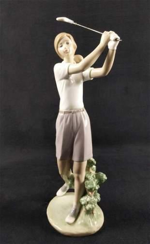 Lladro 6689 Perfect Drive Porcelain Female Golfer
