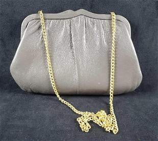 Gray Leather Frame Purse