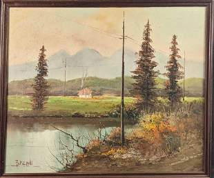 Vintage Original Oil On Canvas Cabin Near The Forest