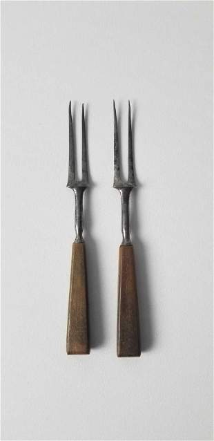 Antique Sterling 800 Silver Forks with Wooden Handles