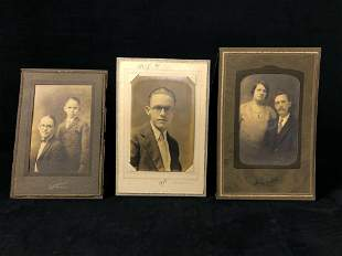 Antique Lot Of 3 Late 1800's - Early 1900's Pictures
