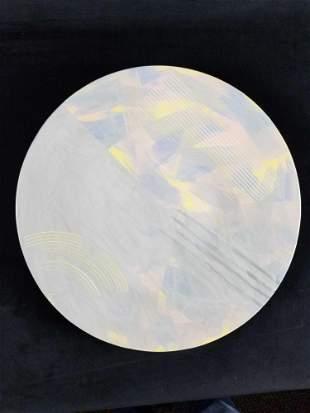 Ceramic Decorative Wall Plate with Pastel Retro Design