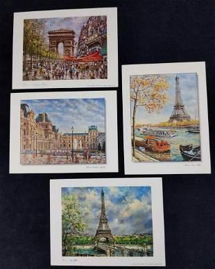 Paris Mini Prints By PRAM Eiffel Tower Notre Dame