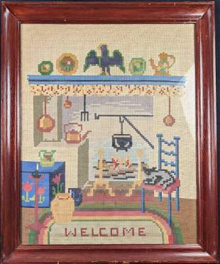 Vintage Needlepoint Picture Welcome Sign Rustic Wall