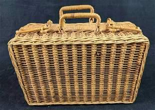 Vintage Wicker Picnic Suitcase Basket