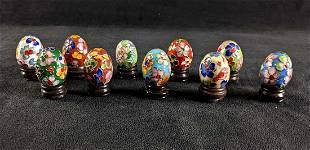 Chinese Cloisonne Mini Eggs Enamel Decorated Eggs