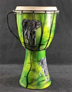 Drum Djembe Style Drum Green Drum With Elephants