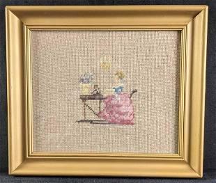 Needlepoint Folk Artwork Victorian Lady