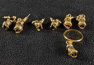 Donald Duck Earrings and Ring Set Disney