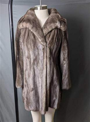 Women's Mink Fur Coat Real Blue Iris Mink Fur