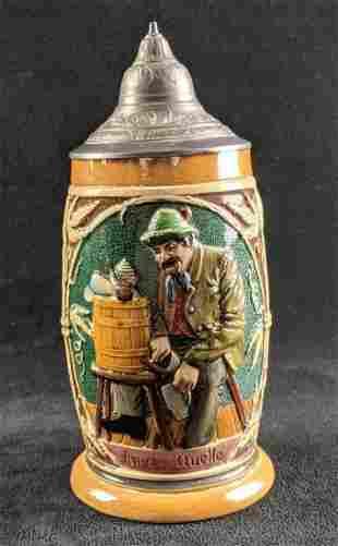 German Beer Stein 1/2L Man Pouring Himself a Beer