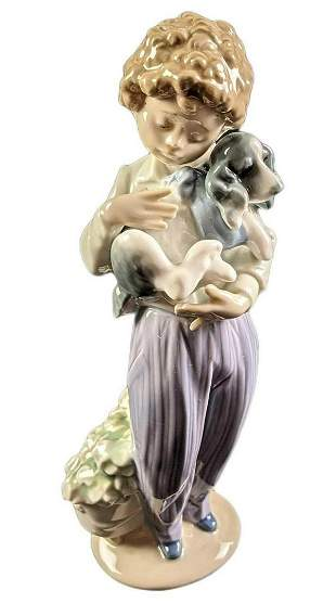Retited Lladro My Buddy Dog And Boy Porcelain Figurine