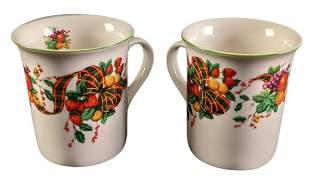 Two William James Stonewear Fruit & Grim Trim Mugs