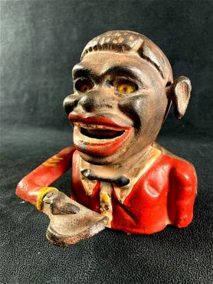 Vintage Cast Iron African American Coin Bank