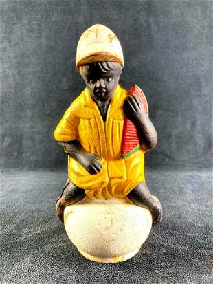 Cast Iron Bank African American Child Holding