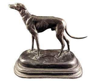 Vintage Bronze Greyhound Dog Statue