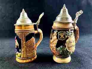 Set of (2) Mini German Beer Steins Post-1949