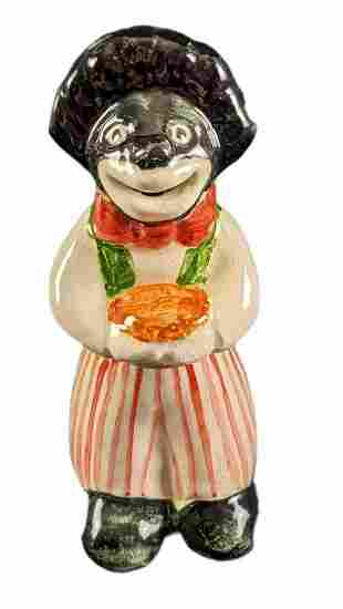Vintage Ceramic Handpainted Black Clown Pie Vent