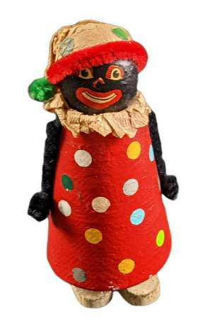Vintage Hand Made Wooden Walker Black Clown Toy