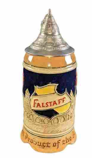 Vintage Falstaff Beer German Stein with Pewter Lid