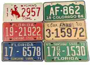 Six Vintage United States Metal License Plates Florida