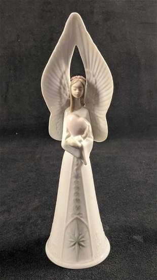 Lladro Porcelain Sounds Of Love Angel Bell Topper