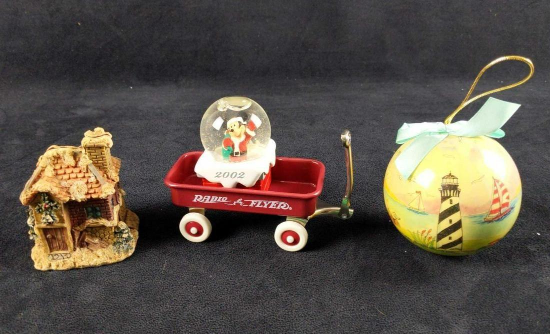 Four Mini Christmas Ornaments Disney Snow Globe