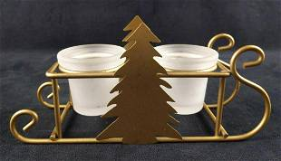 Christmas Holiday Sleigh Tree Candle Holder