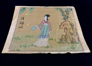 Vintage Original Chinese Water Color On Silk Paper