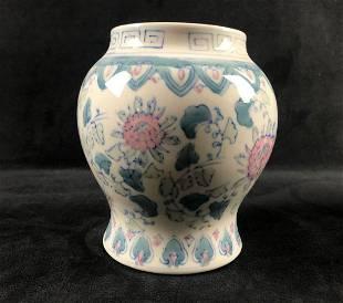 Vintage Porcelain Hand Painted Glazed Pink Turquoise