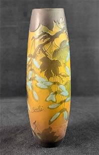Acid Floral Etched Glass Vase Galle Reproduction