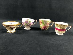 Lot Of 4 Lot Porcelain Tea Cups Hand Painted Royal